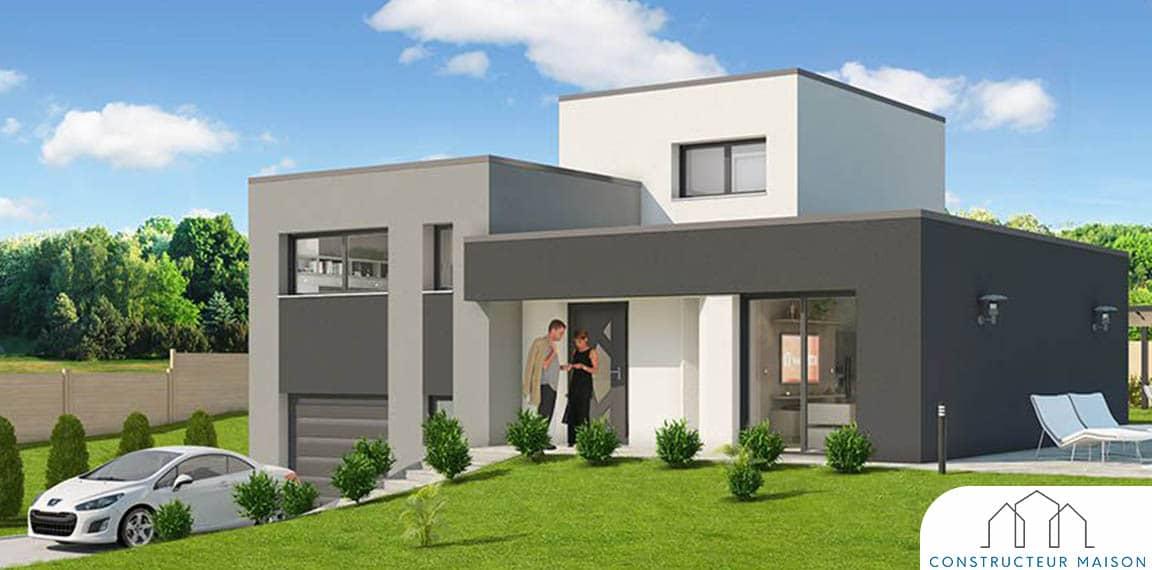 Maison contemporaine de demi niveau c me for Maison demi niveau toit plat